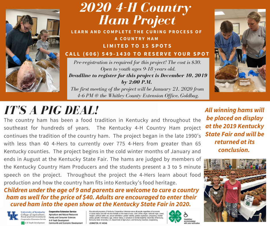 2020 4-H Country Ham Project where kids learn the process of curing ham starting in the winter months and finishing in august in time to submit them into the state fair in 2020.
